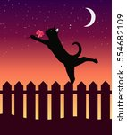 cat on a fence on sunset... | Shutterstock .eps vector #554682109