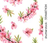 romantic seamless pattern with... | Shutterstock . vector #554687434