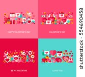 valentine day greeting set.... | Shutterstock .eps vector #554690458