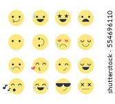 set smiley icons for... | Shutterstock .eps vector #554696110