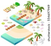 vector isometric beach objects... | Shutterstock .eps vector #554697949