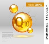 vitamin q10 gold shining pill... | Shutterstock .eps vector #554703874