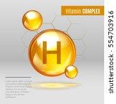 vitamin h gold shining pill... | Shutterstock .eps vector #554703916
