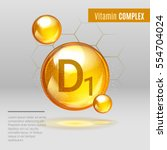 vitamin d1 gold shining pill... | Shutterstock .eps vector #554704024