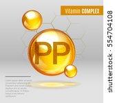 vitamin pp gold shining pill... | Shutterstock .eps vector #554704108
