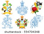 set tattoo sketches with skulls ... | Shutterstock .eps vector #554704348