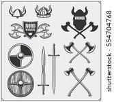 viking set. horned helmet ... | Shutterstock .eps vector #554704768