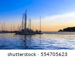 sunset in the mediterranean... | Shutterstock . vector #554705623