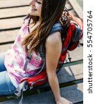 backpacker casual travel... | Shutterstock . vector #554705764