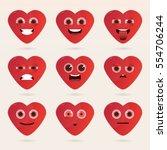 set of cute heart emoticons.... | Shutterstock .eps vector #554706244