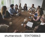 diverse people teamwork on... | Shutterstock . vector #554708863
