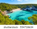 view of mitjaneta beach with... | Shutterstock . vector #554718634