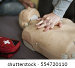 cpr first aid training concept | Shutterstock . vector #554720110