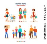 shopping people. joint... | Shutterstock .eps vector #554721874
