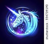 unicorn head logo concept  with ...   Shutterstock .eps vector #554739190