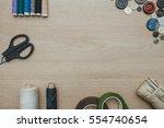 scissors  threads  needles ... | Shutterstock . vector #554740654