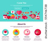 i love you website design. flat ... | Shutterstock .eps vector #554746738