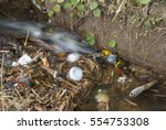 polluted river  garbage in... | Shutterstock . vector #554753308