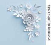Stock photo  d render digital illustration white paper flowers valentine s day decor pastel floral 554757658