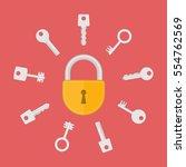 lock with key flat vector... | Shutterstock .eps vector #554762569