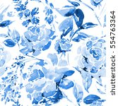 blue watercolor floral seamless ... | Shutterstock . vector #554763364