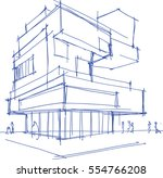 hand drawn architectural sketch ... | Shutterstock . vector #554766208