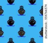 vector sea ships silhouettes... | Shutterstock .eps vector #554766574