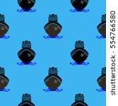 sea ships silhouettes seamless... | Shutterstock . vector #554766580