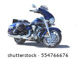 Blue Powerful Motorcycle On...