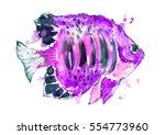 watercolor purple fish.   Shutterstock . vector #554773960