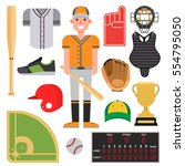 cartoon baseball player icons... | Shutterstock .eps vector #554795050
