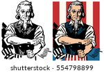 american uncle sam rolling up... | Shutterstock .eps vector #554798899