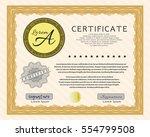 orange diploma or certificate... | Shutterstock .eps vector #554799508