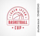 basketball cup emblem red line... | Shutterstock .eps vector #554805343