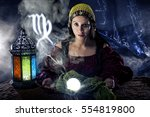 psychic or fortune teller with... | Shutterstock . vector #554819800