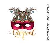 3d venetian carnival mask... | Shutterstock .eps vector #554819980
