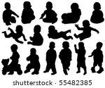 vector children silhouettes | Shutterstock .eps vector #55482385