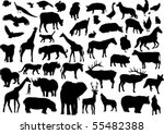 vector animals silhouettes | Shutterstock .eps vector #55482388