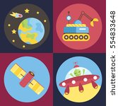 space objects cartoon icons.... | Shutterstock .eps vector #554833648