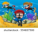 three kids diving under the... | Shutterstock .eps vector #554837500