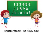students counting numbers on... | Shutterstock .eps vector #554837530
