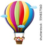 kids flying in hot air balloon | Shutterstock .eps vector #554837560