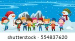 children and snowman standing... | Shutterstock .eps vector #554837620