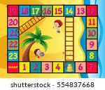 boardgame template with kids on ... | Shutterstock .eps vector #554837668