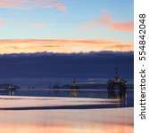 semi submersible oil rig during ... | Shutterstock . vector #554842048