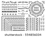 set of floral hand drawn border ... | Shutterstock .eps vector #554856034