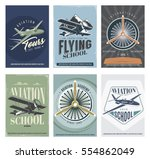 retro aviation set of 6 posters....   Shutterstock .eps vector #554862049