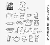 funny kitchen utensils set made ... | Shutterstock .eps vector #554880448