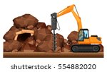 drilling tractor working in the ... | Shutterstock .eps vector #554882020