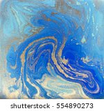 blue and golden liquid texture  ... | Shutterstock . vector #554890273